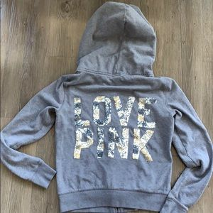 "Grey Sequin ""Love Pink"" zip up hoodie"